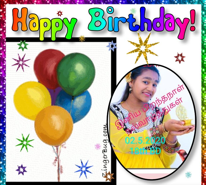இளம் அறிவிப்பாளர் செல்வி சப்றீனா கிருஷ்ணமூர்த்தி அவர்களின் பிறந்த நாள் வாழ்த்து 02.05.2020